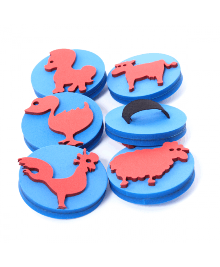 Palm Stamps - Farm Animals - Pack of 6